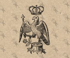Royal Arms Heraldry Crown Vintage Heraldic Eagle Rose image Instant Download Digital printable clipart graphic home decor, iron on  HQ300dpi by UnoPrint on Etsy
