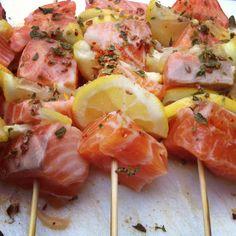 Salmon & lemon kebabs