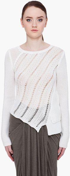 Proenza Schouler Beige Open Weave Sweater