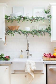 Creative Christmas Decorating Ideas - garland on open shelves