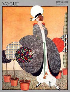Vogue Cover - February 1914 Poster Print by George Wolfe Plank at the Condé Nast Collection Art Deco Illustration, Fashion Illustration Vintage, Magazine Illustration, Vogue Magazine Covers, Fashion Magazine Cover, Magazine Art, Retro Poster, Vintage Posters, Vintage Art