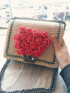 Handmade crochet bag with red rose decoration, gift for her, luxury bag, summer bag, handbag, crochet bag, clutch, cotton yarn handmade bag
