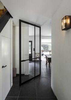 Glass and aluminium pivot door by ANYWAYdoors. Pivot Doors, Internal Doors, Front Doors, Sliding Doors, Design Your Dream House, House Design, Room Divider Doors, Room Dividers, Glass Shower Doors