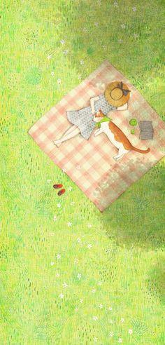 잔디는 푹신하구나 사람 베개란 푹신하구나
