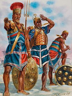 Sea peoples - The island conspiracy: 'War of the eighth year', 1191-1178 BC ~ art by Giuseppe Rava