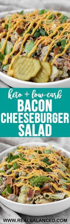 This keto and low-carb Bacon Cheeseburger Salad is packed with flavor and will keep you full and energized for hours! This recipe is keto, low-carb, gluten-free, grain-free, refined-sugar-free, and has only 1.2g net carbs per serving! #keto #lowcarb #glutenfree #ketodinner #lowcarbdinner #ketorecipe #lowcarbrecipe #simpleketorecipe #easyketorecipe