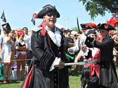 Two pirates skirmish with sword and knife in front of crowd at Billy Bowlegs Festival in Fort Walton Fort Walton Beach Restaurants, Destin Restaurants, Fort Walton Beach Florida, Beach Vacation Rentals, Florida Vacation, Florida Beaches, Sandy Beaches, Pirate Theme, Gulf Of Mexico