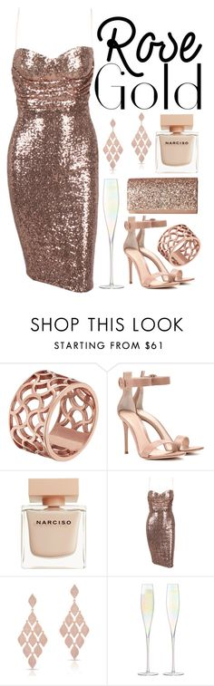 """Rose Gold"" by queen-elizabeth2000 ❤ liked on Polyvore featuring Tartesia, Gianvito Rossi, Narciso Rodriguez, Anne Sisteron, LSA International and Jessica McClintock"