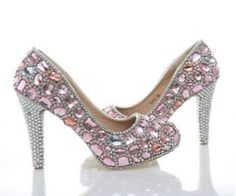 Shine bright like a Diamond La Mia Cara - Jewelry & Accessories Cindarella Dreams need Cinderella Shoes. Each Dolce Sposa is handmade so it takes 10 day before shipment . La Mia Cara - Dolce Sposa - Bride Pink Crystal Shoes - 5 Heel Variants Wedding Shoes Size : 34-35-36-37-38-39-40-41-42-43 1. Color: Pink 2. Upper Material: Genuine Leather 3. Lining Material: Genuine Leather 4. Toe Shape: Round Toe 5. Embellishment: Rhinestone, Crystal 6. Heel Height: we can make 5 kinds of heel height. 6cm…