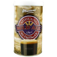 Muntons Premium Midland Mild home brew beer kit Beer Brewing, Home Brewing, Home Brew Beer Kit, Old Ale, Wine Making Kits, Premium Beer, Ben And Jerrys Ice Cream, Root Beer, Malta