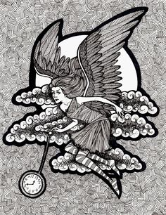 Time by Ithelda on DeviantArt Fantasy Drawings, Art Drawings, Traditional Art, Coloring Pages, My Arts, Deviantart, Black And White, Abstract, Beautiful