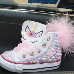 Unicorn Converse w/Puff Ball Cute Baby Shoes, Baby Girl Shoes, Baby Boy Outfits, Girls Shoes, Baby Girl Converse, Bling Converse, Custom Converse, Bedazzled Shoes, Bling Shoes