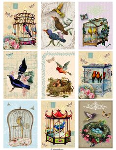 Vintage Birds Printable Tags Digital Collage Sheet - Buy 3 Get 1 Free. $3.50, via Etsy.