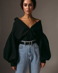 Cotton women's black stylish handmade shirt blouse with long volume sleeves. Look Fashion, 90s Fashion, Fashion Outfits, Womens Fashion, Fashion Design, Black 80s Fashion, Fashion 2020, Modern Fashion, Unique Fashion