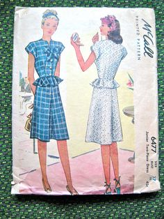 Vintage 1940s sewing pattern by McCall 6477.  Bust 35 by Fancywork