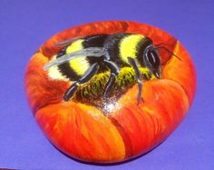 Bumble bee hand painted on rock