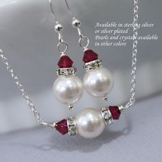 Swarovski White Pearl and Ruby Red Crystal Bridesmaid Jewelry Set, Bridesmaid Gift,  Junior Bridesmaid Jewelry Set, Flower Girl Jewelry