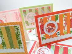 Set of handmade cards - blank cards - for you - thank you - by Wcards by Wcards on Etsy