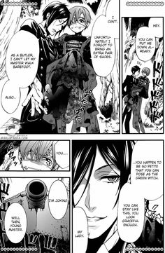 Kuroshitsuji 102 Page 13.....Pfft i love when they throw around jabs like this...don't ship them though fuck u sebby....Ciel is always a cutie pie :3