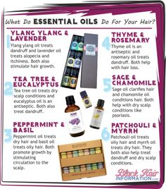 What do essential oils do for your hair - Great list to use in conjunction with homemade shampoos
