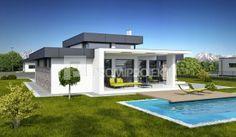 katalogové projekty rodinných domov - Linear 324 Pool House Designs, Small House Design, Dream Home Design, Modern House Design, Architect Design House, Small Modern House Plans, Flat Roof House, House Plans Mansion, Modern Bungalow House
