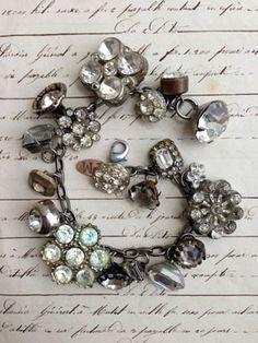 Vintage Rhinestone Button Bracelet. Stunning!