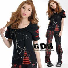 Gothic Punk Visual KEI Lolita Black TEE Shirt M | eBay