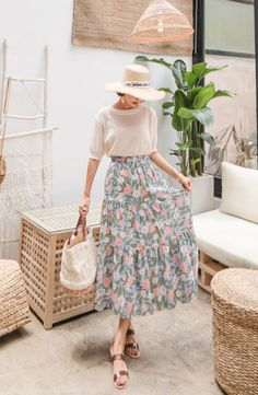 PPGIRL - Band-Waist Floral Print Long Skirt #koreanfashion #koreanstyle #floral
