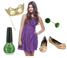 Purple dress, gold and green accessories