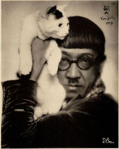 Japanese painter Foujita and Japanese bobtail cat Men With Cats, Japanese Bobtail, Bobtail Cat, Animal Gato, Gatos Cats, Cat People, Vintage Cat, Japanese Artists, Crazy Cats