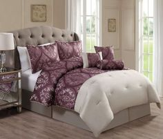 11 Piece Cordovan Jacquard Mauve/Beige Bed in a Bag Set