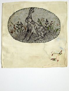 Rosemary Milner - woodland animal embroidery using etching and embroidery on found vintage linen.