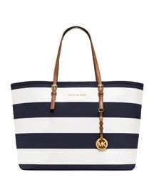 "Sitting in my closet. Happy Birthday to me. A lil fun Summer bag. Y'all know I love stripes and all things nautical so I had to. Just waiting for permanent sunshine to ""play with it""!"