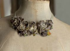 English Roses- Silk fabric flowers bib necklace- velvet ribbon- Grey