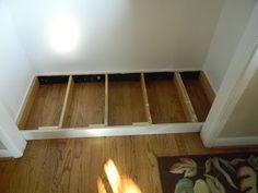 The Diligent One: Coat closet to mini-mudroom: phase II - Dreckschleuse Kinder Closet Bench, Front Hall Closet, Closet Nook, Entry Closet, Entry Foyer, Front Entry, Mudroom Cubbies, Mudroom Laundry Room, Closet Mudroom