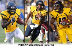 #WVU gold uniforms from 2007-12. Pictured are Noel Devine (7), Pat White (5) and Steve Slaton (10).