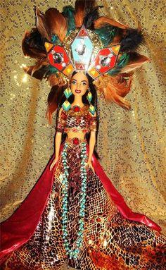 Chantico ~Aztec Goddess of fire family hearth & volcanoes barbie doll ooak Mayan