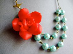 Bridesmaid JewelryFlower NecklacePearl JewelryRed by RachelleD, $35.00