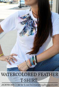 DIY Fashion Idea:  Watercolored Feather T-Shirt Tutorial - cute craft idea