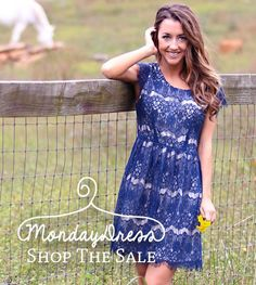 Crazy about this Flowers Grown Wild Navy Lace Dress! So many awesome deals going on right now at MondayDress.com!