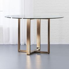 "CB2 Silverado Brass 47"" Round Dining Table (490 AUD) ❤ liked on Polyvore…"