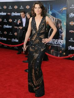 Colbie Smulders wearing donna karan at the premiere of the avengers