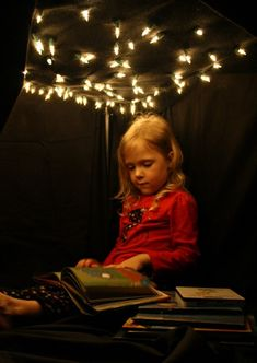 Night Sky Reading Nook- a simple way to bring excitement to before bed storytime Reading Nook Kids, Thematic Units, Space Theme, Early Literacy, Book Nooks, Kid Spaces, Stargazing, In Kindergarten, Fun Learning