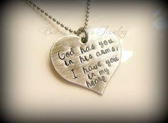 Hand Stamped Heart - Grieving - Miscarriage - Loss of pet - In Gods arms necklace - Hand Stamped Stainless Steel