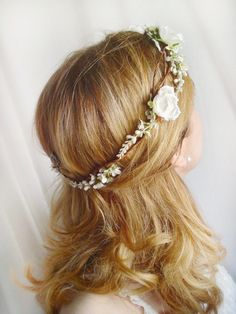 white flower crown white rose hairpiece bridal by thehoneycomb