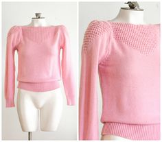 1980s pink boat neck knit sweater with poofy shoulders by TimeTravelFashions on Etsy