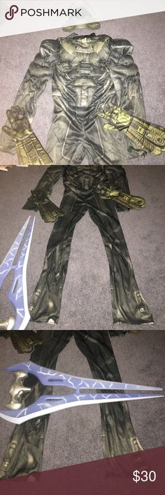 Halo Halloween Costume Halo Halloween costume, youth XL. Mask, gloves and sword are included. This costume was worn once for Halloween. Excellent condition. Halo Costumes Halloween