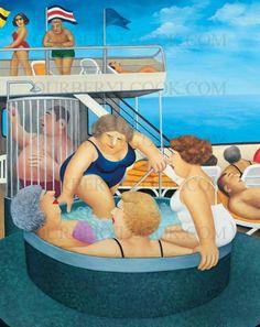 Beryl Cook ~ Cruising English Artists, British Artists, Beryl Cook, Local Painters, Fat Art, Family Picnic, Chubby Girl, Painting Gallery, Fat Women