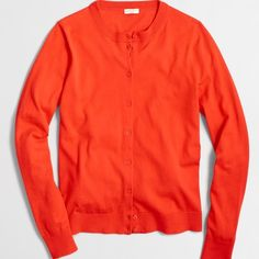 New Item J. Crew Caryn Cardigan Color: Vibrant Flame.                                                 Cotton. Hits slightly below hip. Long sleeves. Machine wash.                                                                  J. Crew Factory J. Crew Sweaters