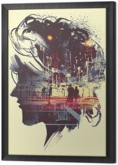 Framed Canvas painting of double exposure concept with lady portrait silhouette and couple walking in night city